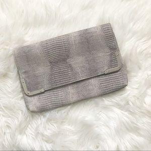Handbags - Grey Snakeskin Clutch